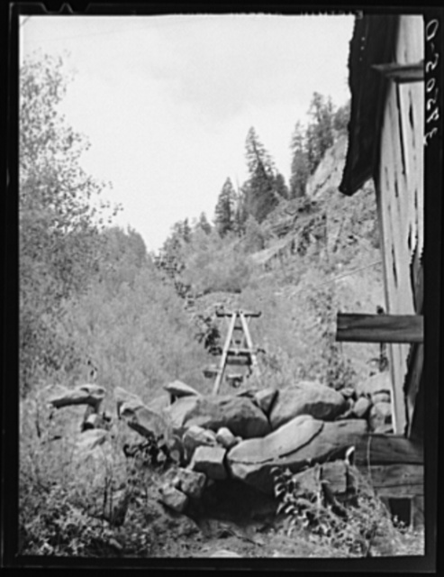 Aerial tram leading from mine to loading platform at narrow gauge railway station. Ophir, Colorado