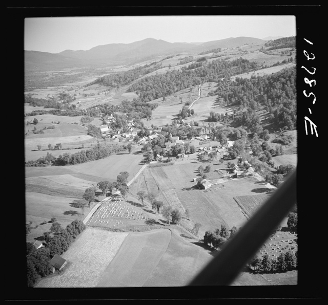 Aerial view. Cemetery and town. Lincoln, Vermont