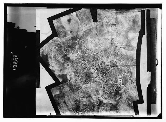 Air mosaic (plan) or map of Jerusalem & surroundings