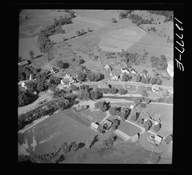 Air view. Lincoln, Vermont. Note country store with car parked in front