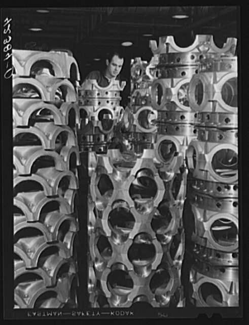 Aircraft motor casings at the Pratt and Whitney Aircraft Corporation. East Hartford, Connecticut