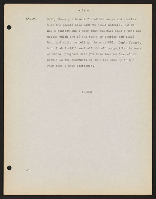 Alan Lomax Collection, Manuscripts, CBS, 1940-1941, American School of The Air, Wellsprings of Music