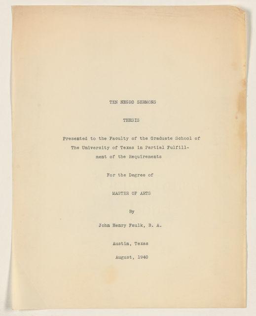 Alan Lomax Collection, Manuscripts, Faulk, John Henry thesis