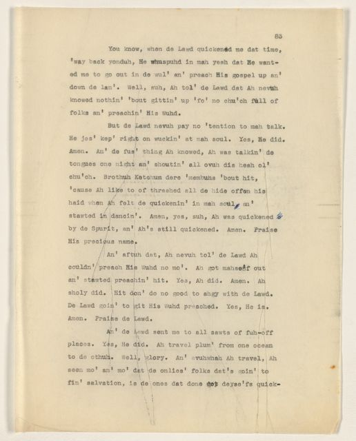 Alan Lomax Collection, Manuscripts, Faulk, John Henry thesis