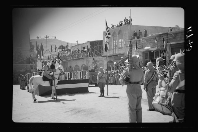 Amman. 24th anniversary of Arab revolt under King Hussein & Lawrence, celebration Sept. 11, 1940. A scene in municipality square during the (march past) parade
