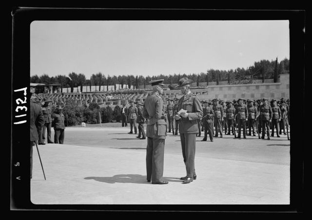 Anzac Day, Jerusalem, April 25, 1940. Gen. Freyberg & Col. Milne