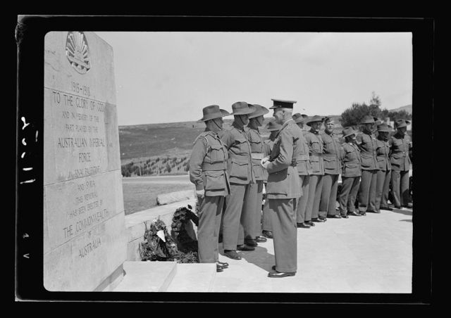 Anzac Day, Jerusalem, April 25, 1940. Gen. Freyberg, etc. near Stone of Remembrance before laying of w[reath]
