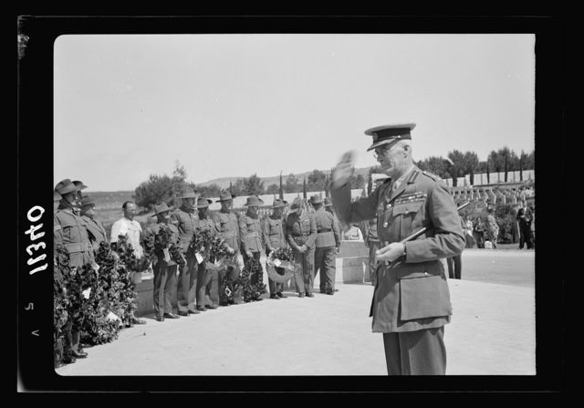 Anzac Day, Jerusalem, April 25, 1940. Gen. Freyberg saluting after laying a wreathe [i.e., wreath] on the Stone of Remembrance