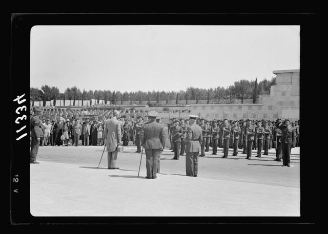 Anzac Day, Jerusalem, April 25, 1940. The Guard of Honor & H.E. (i.e., His Excellency) standing at attention during the reveille