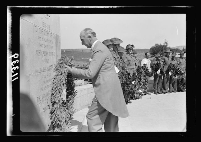 Anzac Day, Jerusalem, April 25, 1940. The High Commissioner laying a wreathe [i.e., wreath] on the Stone of Remembrance
