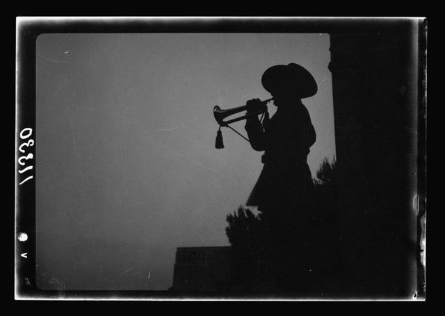 Anzac Day, Jerusalem, April 25, 1940. The last post sounded by trumpeter at early dawn fr[om] War Graves Cemetery