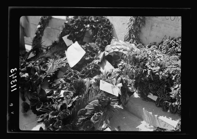 Anzac Day, Jerusalem, April 25, 1940. Wreathes [i.e., wreaths] at the base of the Stone of Remembrance, close up