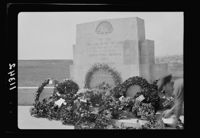 Anzac Day, Jerusalem, April 25, 1940. Wreathes [i.e., wreaths] at the base of the Stone of Remembrance