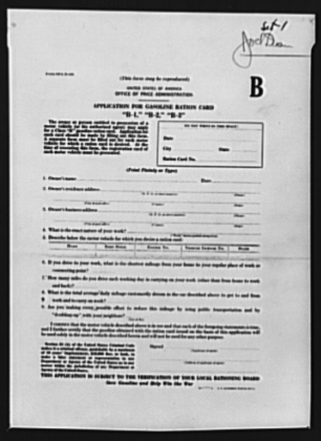 Application for gasoline ration cards B1, B2, B3. B cards are issued to car owners whose vocational requirements make necessary the use of more gasoline than provided by the basic allotment card A. An applicant for a B card must present evidence that he is the owner of a registered vehicle and that he has need for more gasoline than he can obtain on the A card