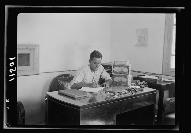 Arab factories & gen[eral] improvements in Nablus. Match factory. One of the proprietors at his desk