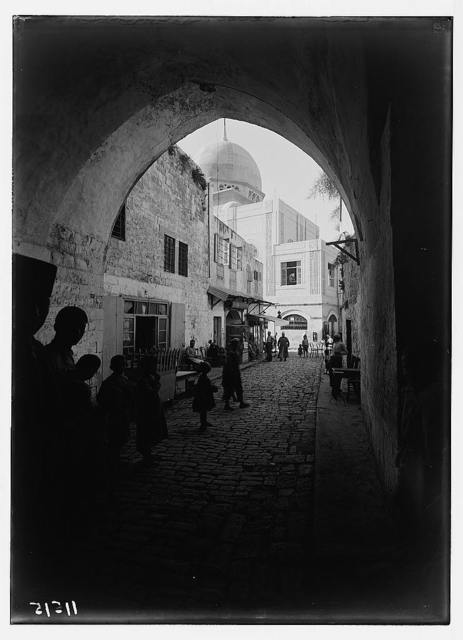 Arab factories & gen[eral] improvements in Nablus. The new mosque. Ext. [i.e., exterior] Inside old town, looking through archway