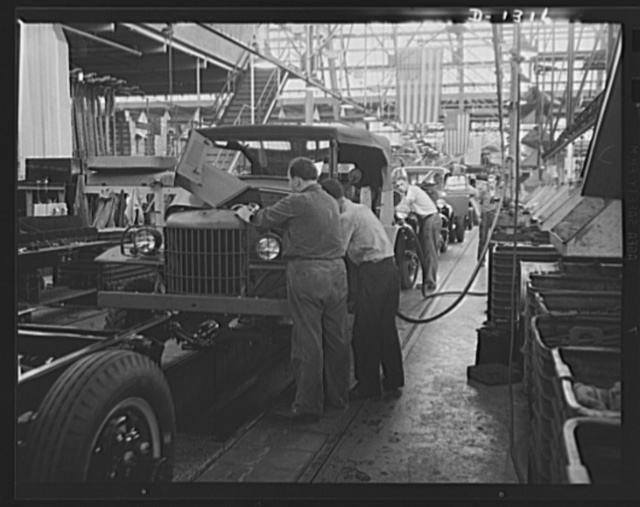 Army truck manufacture (Dodge). In final assembly operation water is put in the radiator, gasoline in the fuel tank, so that each Dodge Army truck leaves the assembly line under its own power