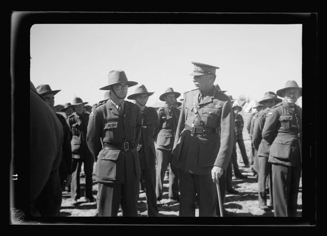 Arrival in Palestine of Mr. Antony [i.e., Anthony] Eden. Gen. Barker, G.O.C. at Lydda air port awaiting arrival of Mr. Eden