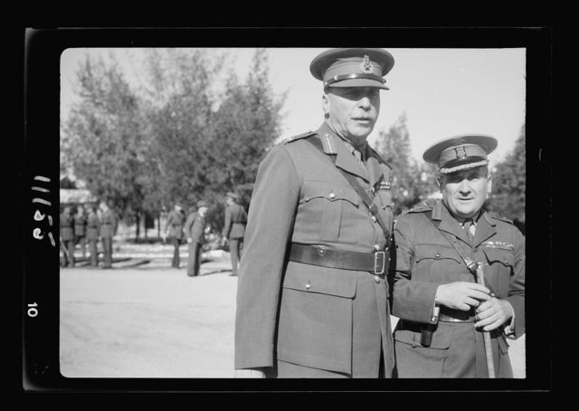 Arrival in Palestine of Mr. Antony [i.e., Anthony] Eden. Gen. Barker, G.O.C. at Lydda Airport awaiting arrival of Mr. Eden and Gen. ... of A.I.F. [i.e., Australian Imperial Forces]
