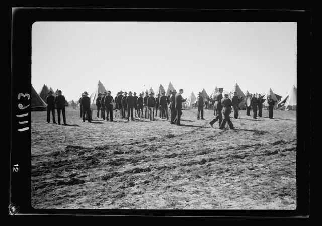 Arrival in Palestine of Mr. Antony [i.e., Anthony] Eden. Mr. Antony [i.e., Anthony] Eden & group. Gen[eral] view of camp & inspection