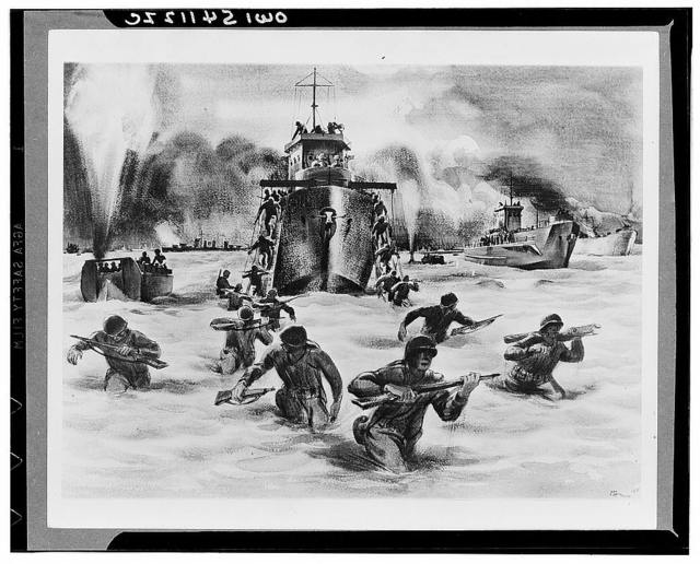 Assault wave, Salerno. Allied troops pour ashore at Salerno, wading through the surf under heavy machine gun and shell fire from hidden enemy positions back of the beaches. One of the landing craft is set aflame by an enemy shell. Another shell just misses an LCVP (landing craft, vehicle personnel) and sends up a plume of smoke and water. Allied cruisers come in close to shore to blast the enemy whose positions are relayed by naval spotters advancing with the landing parties