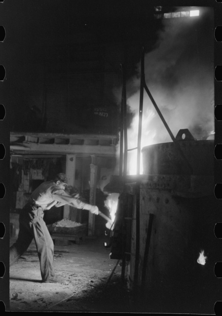 At the electric furnace in the foundry of the Farrell-Birmingham Company, Ansonia, Connecticut