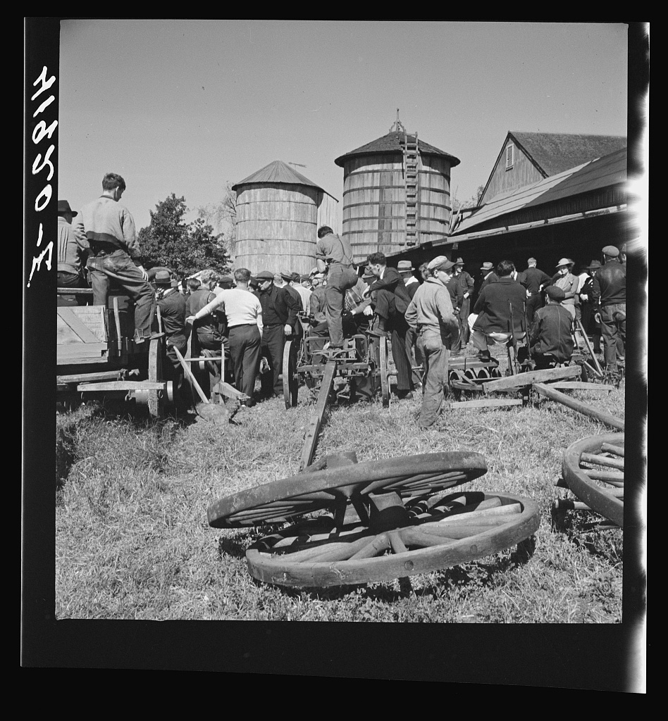 Auction sale on the farm of Mr. Anthony Yacek. Derby, Connecticut