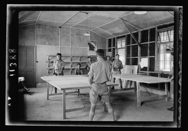 Australian Army Y.M.C.A. in Julis Camp. Ping pong game in 'Y' huts of Army Julis Camp