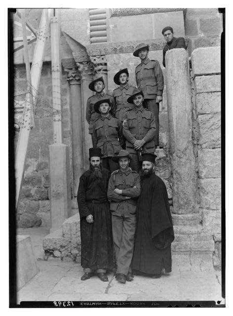 Australian soldiers & Greek monks at Ch. of Sepulchre [i.e., Church of the Holy Sepulchre]