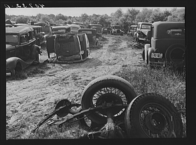 Auto graveyard along U.S. Highway No. 1 near Sulphur Springs, Maryland
