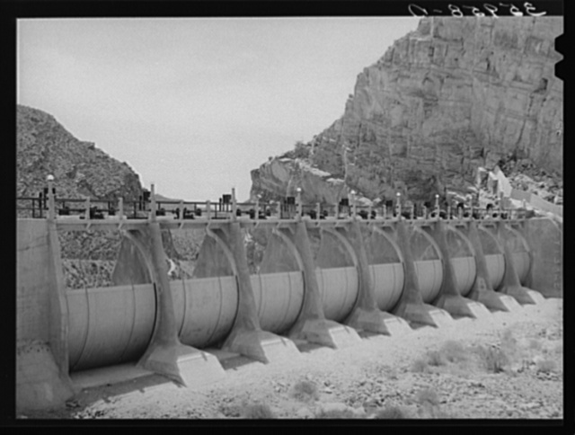 Auxiliary sluice gates which have never been used. Roosevelt Dam, Arizona
