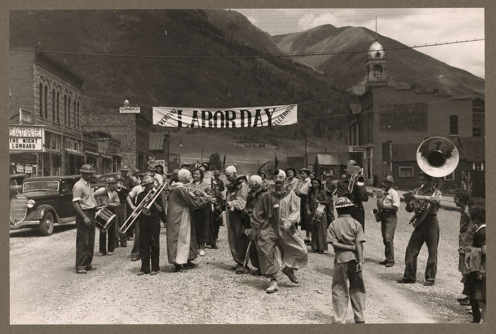 Band and clowns at Labor Day celebration, Silverton, Colorado