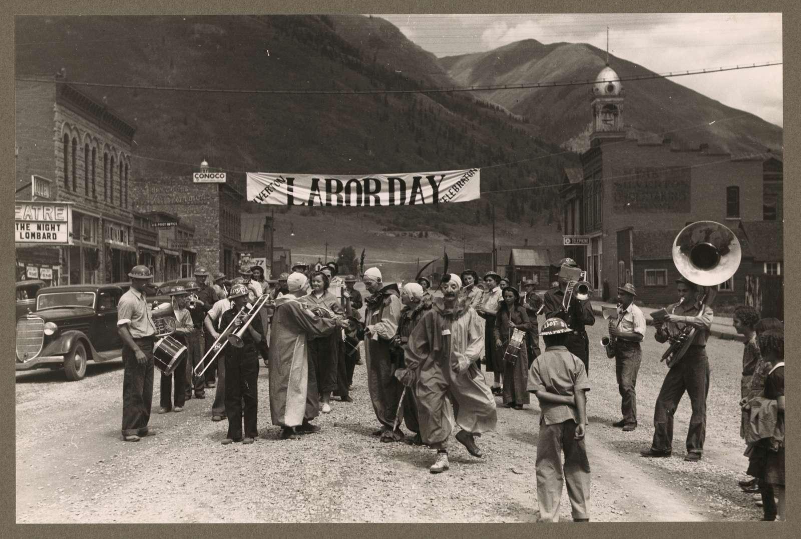 Band and clowns at Labor Day celebration, Silverton, Colorado