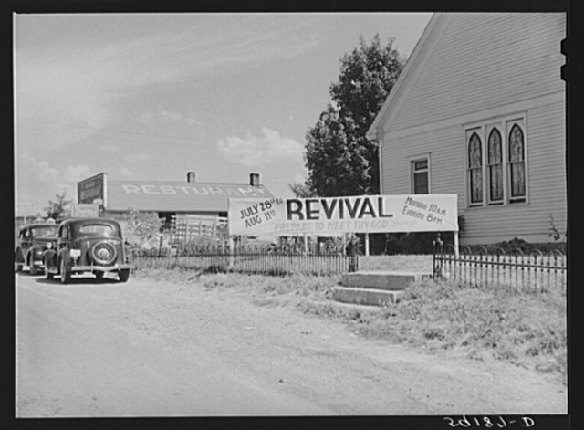 Banner advertising revival meeting in front of church near Lawrenceburg, Kentucky