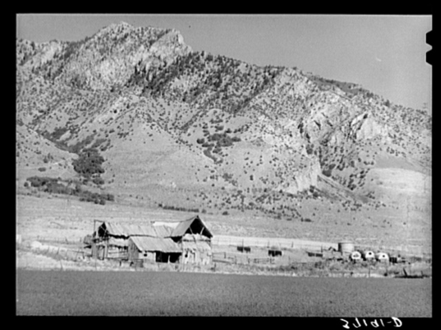 Barns of Mormon farmer in Box Elder County, Utah. Notice the sheepherder's wagon. Grazing of sheep and cattle is an important part of farms in this section