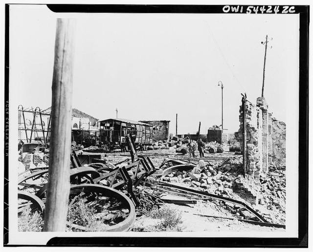 Battered railroad yards at Foggia. So accurate was the bombardment by planes of the Mediterranean Allied Air Forces that eight months after the Allied occupation the Foggiayards were still not useable for marshalling freight