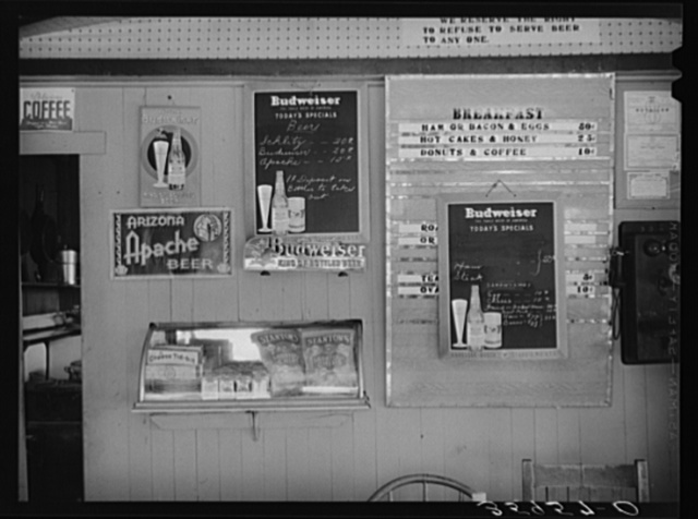 Bill of fare at tourist camp. Roosevelt, Arizona