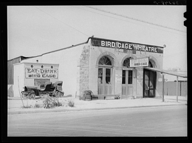 Bird Cage Theater, scene of riotous entertainment during the mining boom days. Tombstone, Arizona