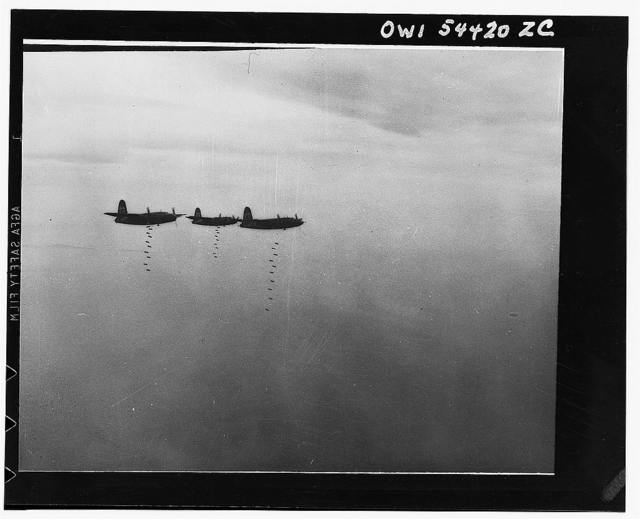 "Bombs away. U.S. B-26 medium bombers drop their eggs on ports, bridges, and railroad yards in central Italy. Practically every type of combat aircraft in the Mediterranean Allied Air Forces, from the heavy Flying Fortresses to the light fighter escorts, participated in ""Operation Strangle"""