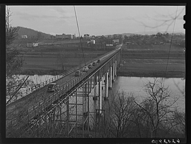 Bridge into Radford, Virginia. The Hercules powder plant is seven miles out of town