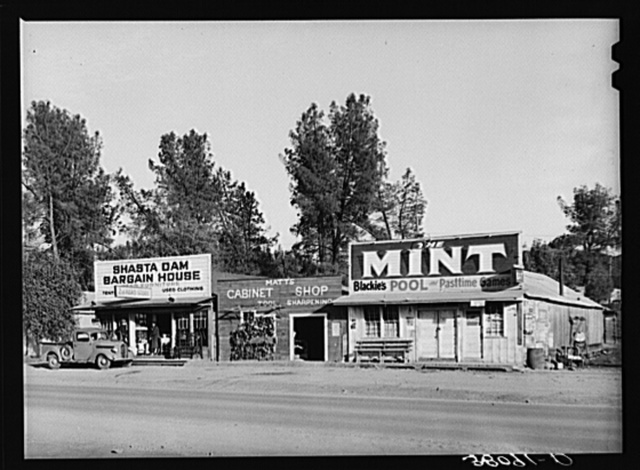 Business enterprises at Central City, California, a boom town owing its existence to the construction work of Shasta Dam