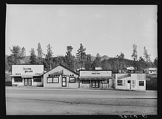 Business enterprises on main street on Central Valley, California, boom town near Shasta Dam