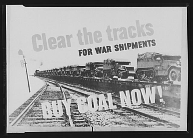 """""""Buy Coal Now"""" poster. As part of a national campaign urging consumers to buy coal now to help clear the way for heavy war shipments later, the above poster is being sent to railroads, wholesale and retail coal dealers, and various public and private agencies. The poster was prepared by the Consumer Division of the Office of Price Administration (OPA) and the U.S. Bituminous Coal Consumer's Council"""
