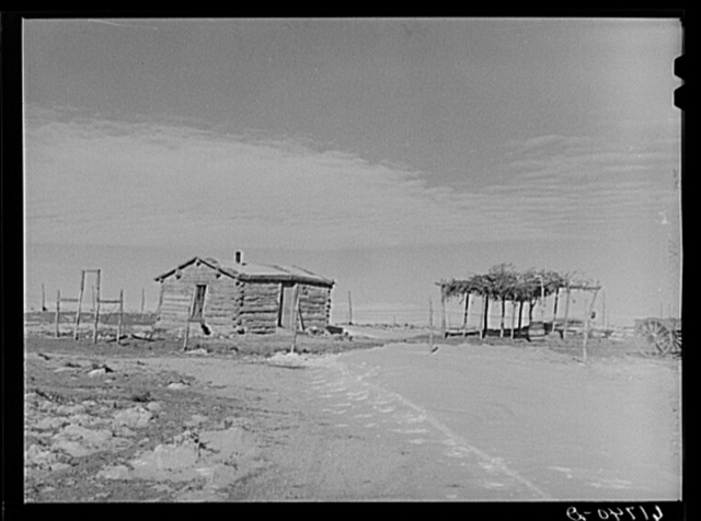 Cabin and stock shelter of Indian farmer. Todd County, South Dakota