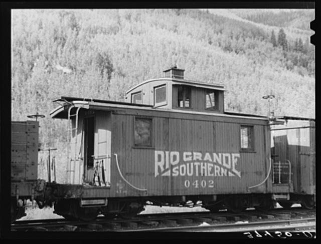 Caboose of the Rio Grande Southern narrow gauge railway. Telluride, Colorado