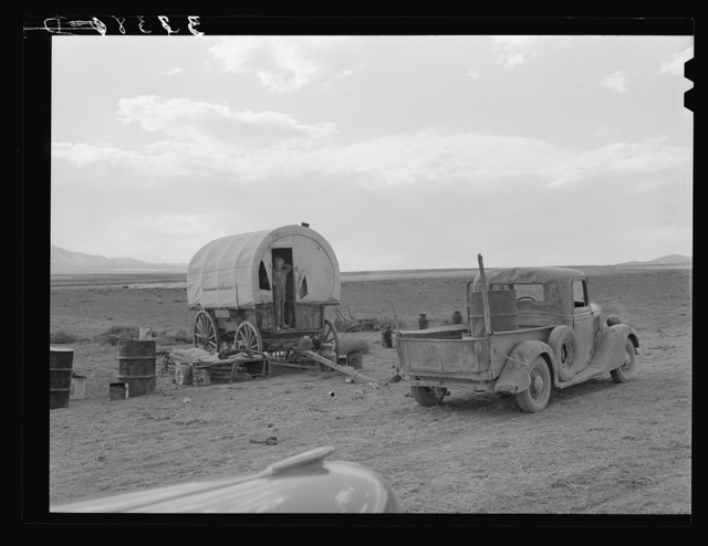 Camp of dryland Mormon farmer. He lives in Snowville, Utah, and is farming land in Oneida County, Idaho, which he has leased from the Mormon church. Camp is in Oneida County, Idaho