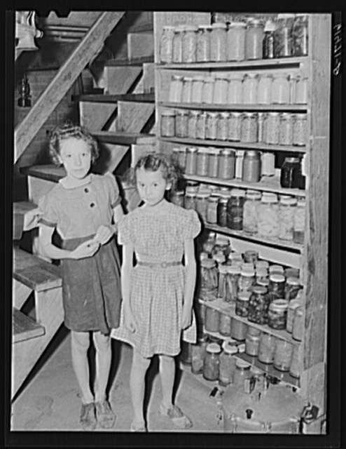 Canned goods of Hersch family. Red River Valley Farms, North Dakota