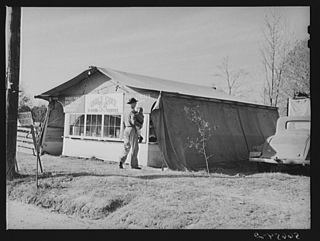 Carl's Cafe and lunchroom tent put up about three months ago. Plate lunch increases from twenty-five cents to thirty-five cents and dinners from thirty-five cents to fifty cents. Alexandria, Louisiana