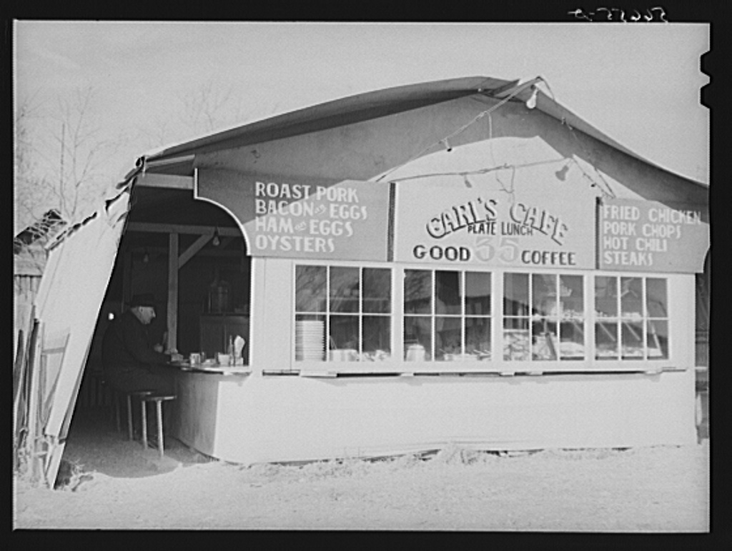 Carl's Cafe (lunchroom tent) put up about three months ago. Plate lunch increased from twenty-five cents to thirty-five cents and dinners from thirty-five cents to fifty cents.  Alexandria, Louisiana