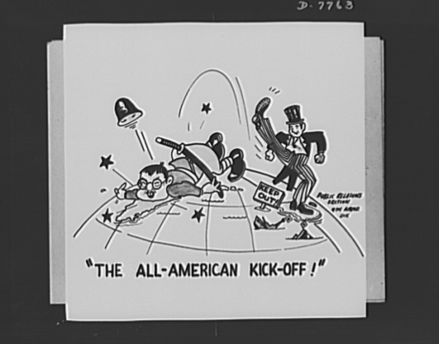 Cartoon by Miyamoto, U.S. Army. Shown here is one of the many cartoons drawn by Private Miyamoto, cartoonist, of the Nineth Armored Division. Miyamoto is twenty-two years old and is an American-born citizen of San Francisco. His parents are in a relocation center. He is now special duty with the public relations section of his division